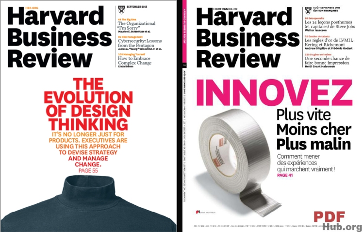 Harvard Business Review (Sept 2015) Couverture USA (gauche), France (droite).